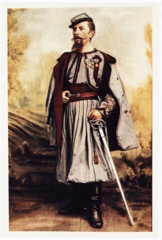 009584 - Zouaven Broederschap. Toen paus Pius IX een oproep deed om in Rome de pauselijke staat te verdedigen, gingen ook vele Tilburgers naar Rome; o.a.. Zouaaf Antonie Arts (1845-1926)