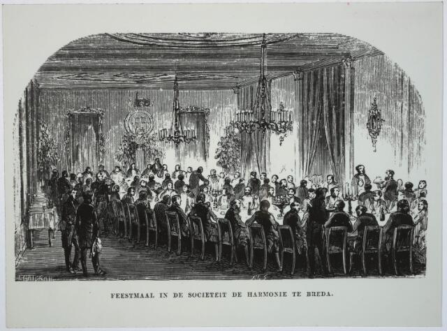 031854 - Tekening. Spoorwegen: viering 1e treinlijn Breda-Tilburg in 1863