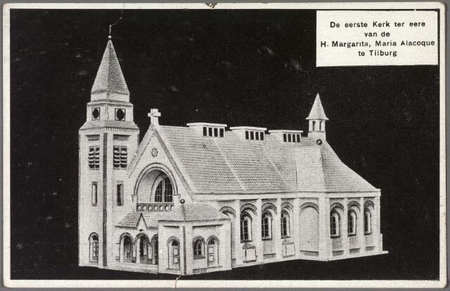 011015 - Ontwerp van de parochiekerk van de H. Margarita Maria aan de Ringbaan-West. De toren werd nooit gebouwd. De kerkwijding vond plaats op 15 mei 1927 door mgr. Diepen, bisschop van 's-Hertogenbosch. Op 14 mei arriveerde de bisschop 's avonds om half zes bij de Van Dijckstraat (de grens van de parochie). In optocht ging hij vervolgens via het Rubensplein, de Gerard van  Spaendonckstraat, de Diepenstraat en de Bredaseweg naar de Ringbaan-West, waar Diepen officieel in de kerk ontvangen werd. De parochianen werd verzocht in de kerk plaats te nemen, maar 'de banken en stoelen die verpacht zijn, blijven gereserveerd voor de pachters. Hierop zal streng worden toegezien'. In de optocht liepen o.a. mee 'de gardes d' honneur', schooljongens met vlagjes, de 'Eucharistische Kruistocht', vaandeldragers van de H. Familie, schoolmeisjes met versiering, bruidjes 'die door linten verbonden zijn met de auto van monseigneur' en harmonie L' Echo des Montagnes. Diepen, het kerkbestuur en de besturen van de St. Vincentius- en St. Elisabethvereniging reden in auto's mee in de stoet. Na de ontvangst in de kerk zegende Diepen de parochianen. De volgende dag, een maandag, begon de kerkconcecratie om 8 uur. Een couplet uit het lied dat de schoolkinderen zongen luidt als volgt: 'Gij, die als een prins hier te midden der zijnen, In 't purper verschijnt van 't bisschop'lijk kleed, Die trooster U toont van grooten en kleinen, En immer als herder te leiden ons weet, U klinkt hier het welkom in feestelijk lied, Het welkom dat dank U en eerbetoon biedt. U dank en eerbetoon biedt'.