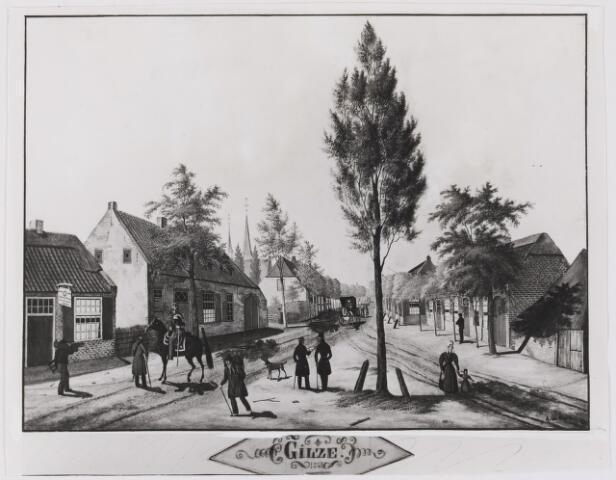 082486 - Gilze, gezicht vanaf de Heuvel in de Grote Kerkstraat thans Raadhuisstraat. Repro naar aquarel van A. van Heusan 1843 in het bezit van P. Sprangers