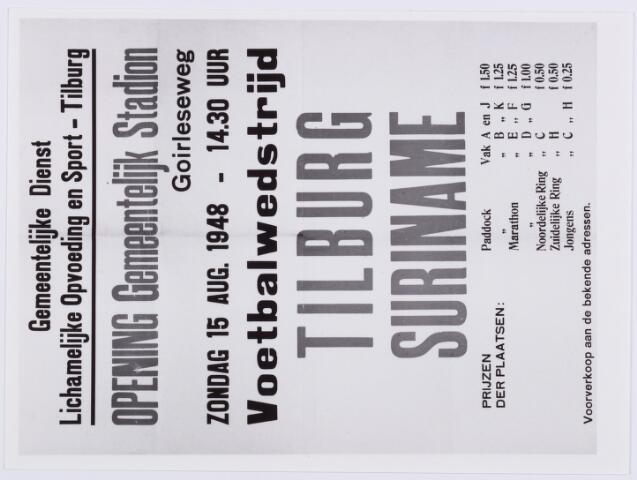 053987 - Sport. Voetbal. Affiche van de voetbalwedstrijd Tilburg - Suriname t.g.v. de opening van het gemeentelijk stadion  op 15 aug.1948