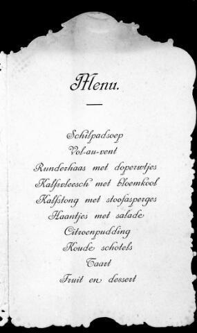 048461 - Menukaart van het diner gegegeven ter gelegenheid van het huwelijk van Charles A.J. Petit en Cato M.C. Ridders.
