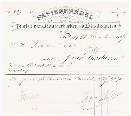 060530 - Briefhoofd. Nota van J. van Laarhoven, papierhandel, boekhandel & binderij, voor Pieter van Dooren te Tilburg