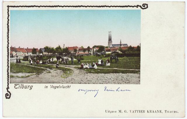 "002620 - ""Tilburg in vogelvlucht"" ingekleurde prentbriefkaart ""omgeving Piushaven"""