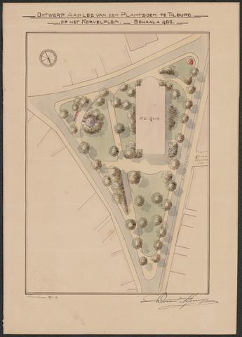 652509 - Ontwerp aanleg plantsoen Korvelplein, ingekleurd. Tekening van Leonard Springer. Gesigneerd en gedateerd: 24/1/1914.