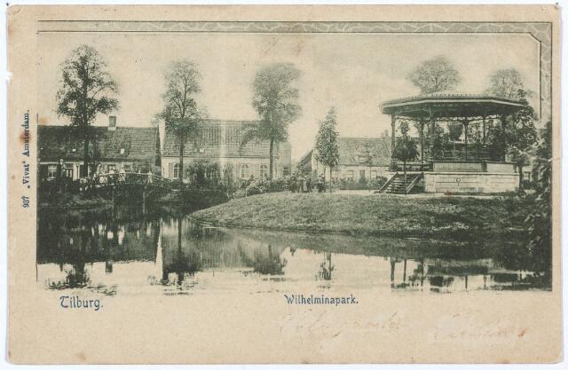 002874 - Noordzijde Wilhelminapark met vijver en muziekkiosk.