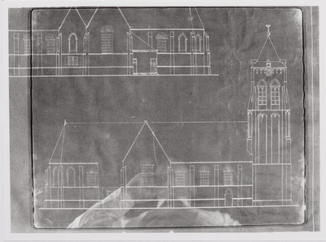 046327 - Tekening. Blauwdruk van de voormalige kerk van St. Jan Onthoofding.