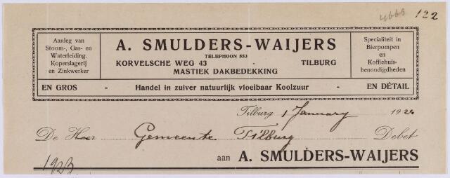 061132 - Briefhoofd. Nota van A. Smulders-Waijers, mastiek dakbedekking, Korvelsche weg 43 voor de gemeente Tilburg