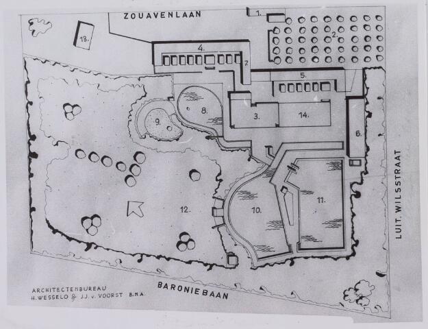 018433 - Plattegrond van het zwembad aan de Zouavenlaan, thans Friezenlaan. Het bad werd geopend op 14 juli 1962 en sloot haar poorten op 3 september 1995