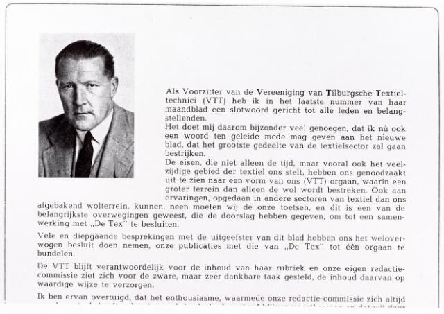 052258 - Textiel. Het V.T.T.-blad is voor het eerst opgenomen in De Tex. V.T.T.-voorzitter Wim Kars (foto) schrijft een inleidend woord.