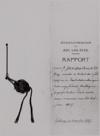 040601 - rapport accountantskantoor J. van Beek dd 31 juli 1927 voor de firma Vouwkartonnages J.B. van Gorp Goirkestraat. (nu gevestigd aan de Ringbaan-Oost)