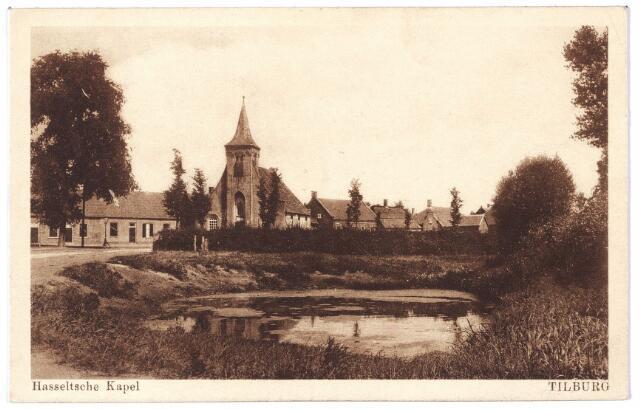 000670 - Hasseltplein met Hasseltse kapel. Op de voorgrond de zogenaamde 'spuul', die benut werd voor de textielindustrie.