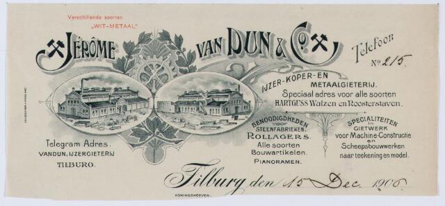 060000 - Briefhoofd. Briefhoofd van Jerome van Dun, ijzer- koper- en metaalgieterij