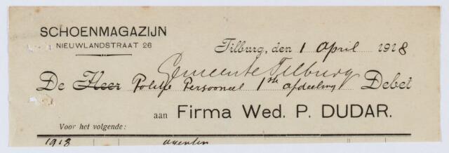 059984 - Briefhoofd. Nota van Wed. P.  Dudar, Schoenmagazijn Nieuwlandstraat 26, voor de politie van Tilburg