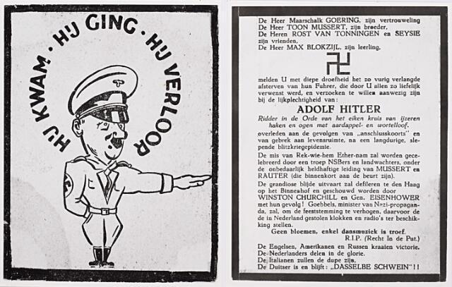 012942 - Tweede Wereldoorlog. Affiches. Gefingeerd doodsprentje van Hitler, uitgebracht kort na de zelfmoord van de Führer