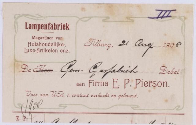 060910 - Briefhoofd. Nota van Firma E.P. Pierson, lampenfabriek voor het gemeentelijk gasfabriek te Tilburg