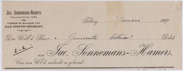 061144 - Briefhoofd. Nota van Jac. Sonnemans-Hamers, fabriek en magazijn van alle soorten meubelen, Nieuwlandstraat 1205 voor de gemeente Tilburg