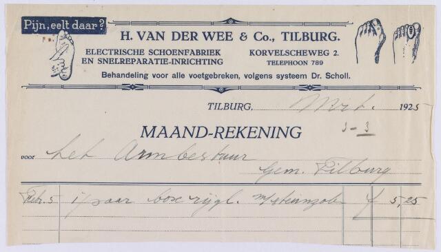 061403 - Briefhoofd. Nota van H. van der Wee & Co. Tilburg, electr. schoenfabriek en snelreparatie-inrichting, St. Annaplein 14 voorhet Armbestuur van de gemeente Tilburg
