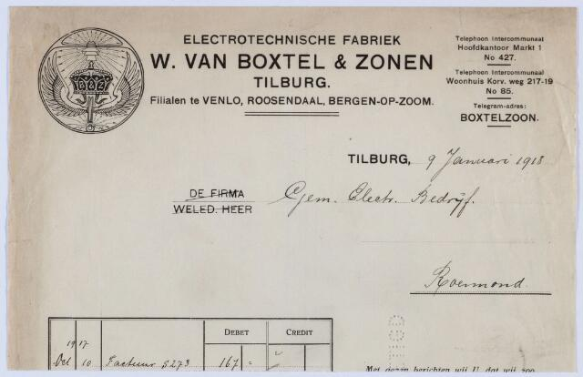 059685 - Briefhoofd. Nota van Electrotechnische Fabriek W. van Boxtel & Zonen, Markt 1, voor het gemeente electriciteits bedrijf Roermond