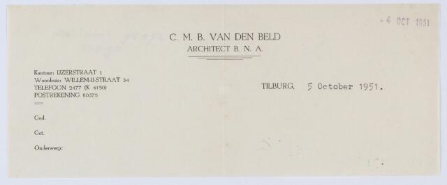 059557 - Briefhoofd. Briefhoofd van C.M.B. van den Beld, Architect B.N.A., IJzerstraat 1