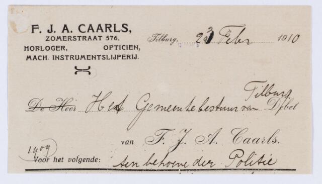 059816 - Briefhoofd. Nota van F.J.A. Caarls, Zomerstraat 576, horloger en opticien, voor gemeente Tilburg