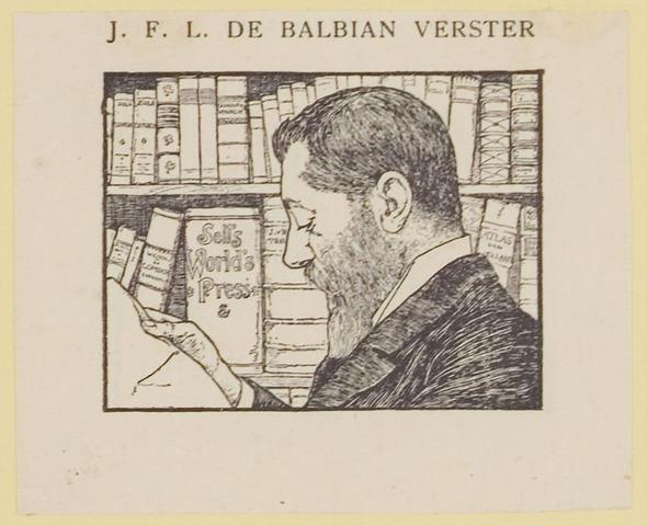 076884 - Bij: Getekende portretten door A.H. de Balbain Verster. Jan Francois Leopold de Balbain Verster. Geboren 29 juni 1861 te Boxtel, overleden 26 juni 1939 te Amsterdam.