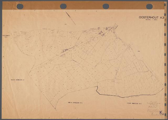 104803 - Kadasterkaart. Kadasterkaart  Oosterhout Sectie K3, Schaal 1 : 2.500