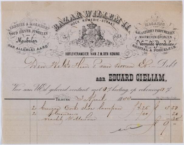 060155 - Briefhoofd. Nota van Eduard Gieliam, Bazar Willem II, hoek Komediestraat voor P. van Dooren te Tilburg.