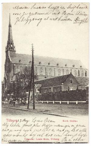 000586 - Kerk St. Dionysius Goirkestraat. en rechts de Mariaschool.