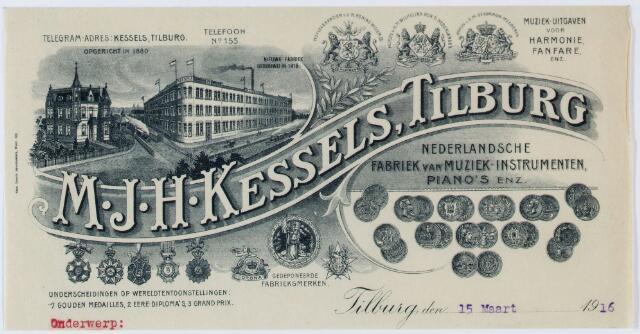 060455 - Briefhoofd van Kessels' Vereenigde Muziek-instrumenten Fabrieken, Industratiestraat 46, voorheen M.J.H. Kessels en Kessels' muziekinstrumeneten fabriek