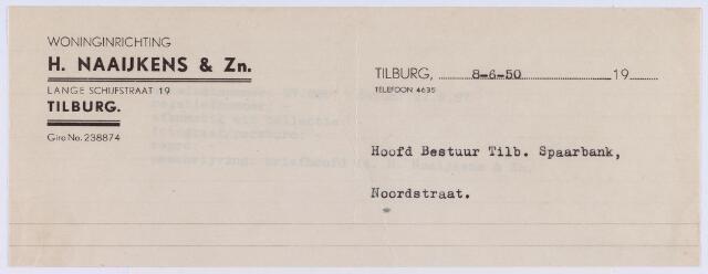 060806 - Briefhoofd. Nota van Woninginrichting H. Naaijkens & Zn. Lange Schijfstraat 19 voor Tilb. Spaarbank, Noordstraat