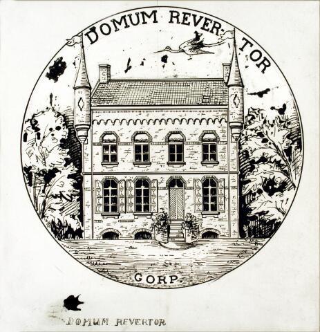 """054510 - Tekening. Tekening van """"het Kasteeltje"""" op Gorp, voormalig jachthuis van de familie De Zerezo de Tejada. Het tekeningetje werd door de volgende eigenaar van het landgoed Gorp, W.J. Hubert van Beusekom gebruikt als sluitzegel op zijn brieven. Boven de tekening de lijfspreuk van Hubert van Beusekom """"Donum Revertor"""" (naar mijn huis keer ik terug, vrij vertaald: dit is mijn domicilie)."""