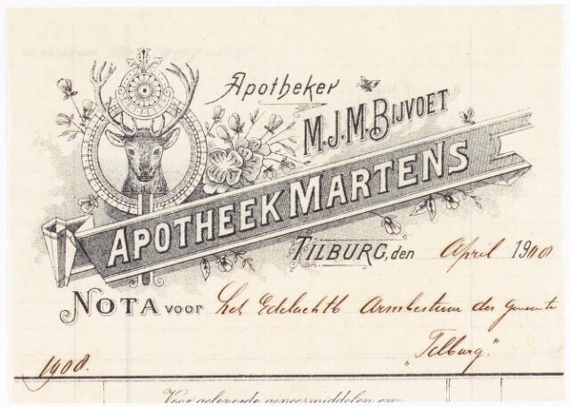 060674 - Briefhoofd. Nota van Apotheker M.J.M. Bijvoet, apotheek Martens, voor het Armbestuur te Tilburg