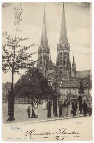 000884 - Heuvel met lindeboom, St. Jozefkerk en pastorie.