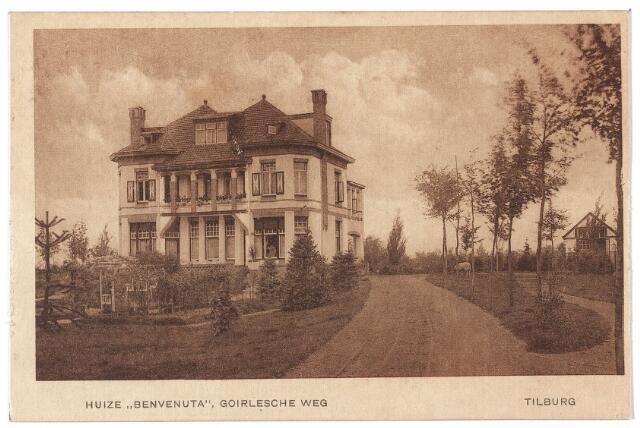 000635 - Goirleseweg 19, de verdwenen villa Benvenuta op de hoek van de Ringbaan-Zuid. In 1916 werd de villa betrokken door schoenfabrikante Johanna Cornelia van Hoof, weduwe van C.J. van Arendonk. Op 22.6.1925 verhuisde zij naar het St. Annaplein nr. 9. De nieuwe bewoner van de villa werd haar zoon Cornelius Arnoldus Wilhelmus van Arendonk, schoenfabrikant, geboren te Tilburg op 7.1.1888. Hij trouwde op 14.4.1925 met Margaretha Jamin, geboren te Weisenau op 18.12.1900. Dit echtpaar bewoonde de villa tot begin jaren zestig van de 20e eeuw. Op 1.4.1965 stond het pand leeg. Later is het gesloopt.