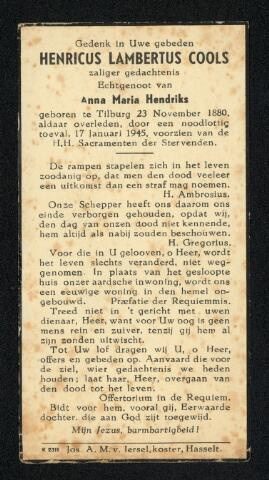 604349 - Tweede Wereldoorlog. Oorlogsslachtoffers. Bidprentje ter nagedachtenis aan Henricus L. Cools, om het leven gekomen op 17.1.1945 bij een schietincident tijdens een huiszoeking.