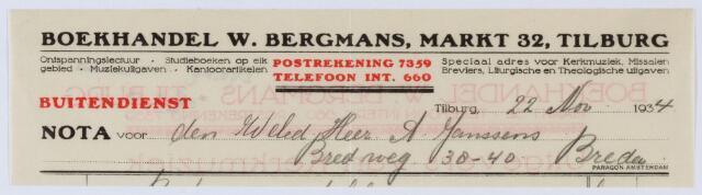 059589 - Briefhoofd. Nota van W. Bergmans - Tilburg, Boek- en Muziekhandel, Markt 32. voor de heer A. Janssens te Breda