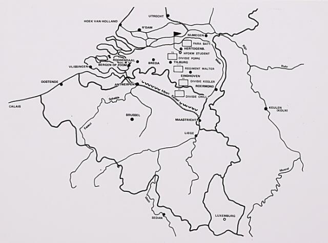 013125 - Tweede Wereldoorlog. Invasie Normandié. Drie Duitse divisies en het regiment-Walter betrekken begin september 1944 stellingen in de frontsector tussen Tilburg en het Albertkanaal in België, waar een leger onder leiding van generaal Student zich heeft ingegraven. Het hoofdkwartier van Student was gevestigd te Vught