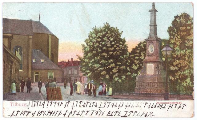 002482 - Markt met kerk van het Heike en rechts de gedenknaald voor koning Willem II op de hoek Monumentstraat-Paleisstraat. Onder op de kaart een bericht in geheimschrift.