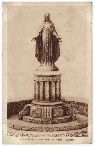 000971 - Monument H. Hart voor de St. Jozefkerk aan de Heuvel. De intronisatie van het beeld vond plaats op 6 november 1921. Het beeld werd ontworpen door de Roermondse kunstenaar Auguste Hermans. Tot 1988 had het beeld een hart van goud, geschonken door de bevolking van Tilburg.