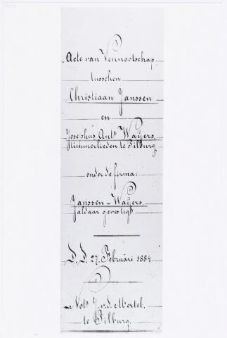 038203 - Akte van vennootschap tussen Christiaan Janssen en Josephus Ant. Waijers, timmerlieden te Tilburg onder de naam firma Janssen-Waijers gevestigd aan de telegraafstraat (27-2-1884). De stalenramenfabriek is anno 2006 gevestigd aan de Zevenheuvelenweg.