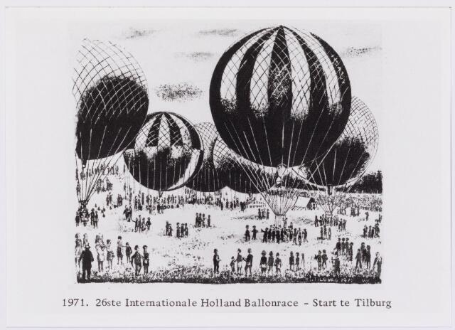 041564 - Tekening. Ballonvaart. 26ste internatioanle Holland Ballonrace- start te Tilburg op Koniginnedag 1971