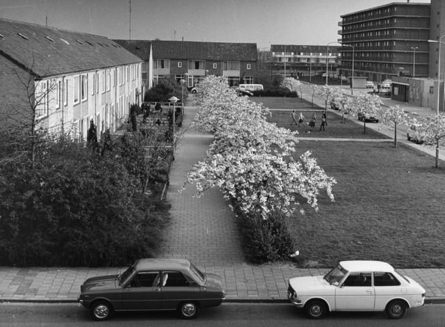 1238_F0422 - Nieuwbouw. Kinderen spelen voetbal op een grasveldje in een woonwijk.
