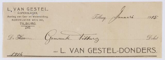060144 - Briefhoofd. Nota van L. van Gestel-Donders, koperslager, Korvelsche weg 140, voor de gemeente Tilburg