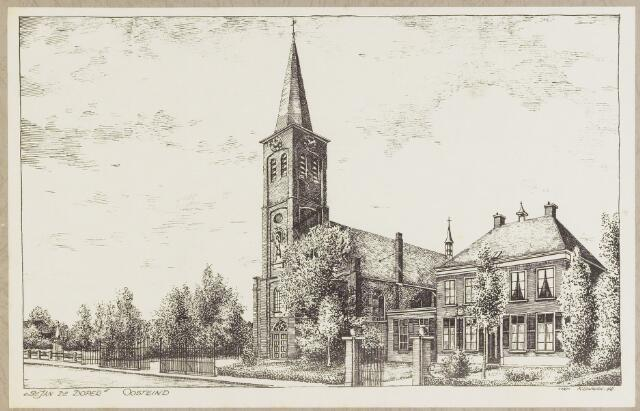 068465 - Pentekening van het kerkdorp Oosteind met de kerk van St. Jan de Doper.
