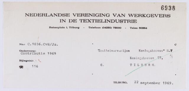 """061414 - Briefhoofd. Nota van Nederlandsse vereniging van werkgevers in de textielindustrie, Reitseplein 1 voor """"Textielververijen Koningshoeven"""" N.V., Koningshoeven 77"""