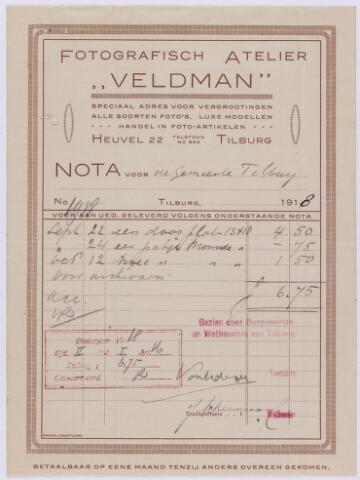 """061284 - Briefhoofd. Nota van Fotografisch atelier """" Veldman"""" , Heuvel 22 voor de gemeente Tilburg"""