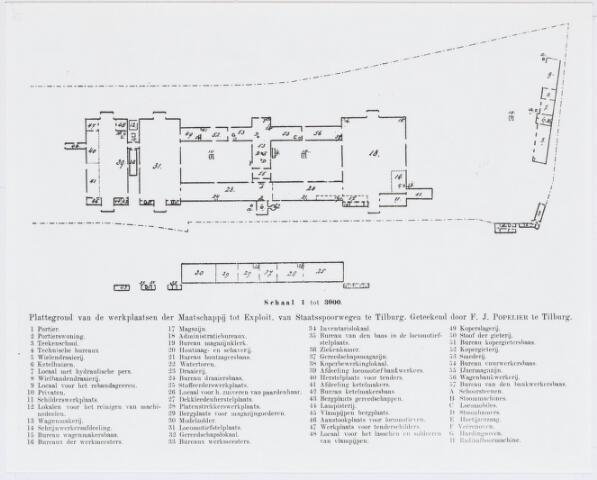 036920 - Spoorwegen, Centrale Werkplaats, Atelier, NS: Plattegrond met index van de werkplaatsen der Maatschappij tot Exploitatie van Staatsspoorwegen te Tilburg vervaardigd door F.J. Populier.