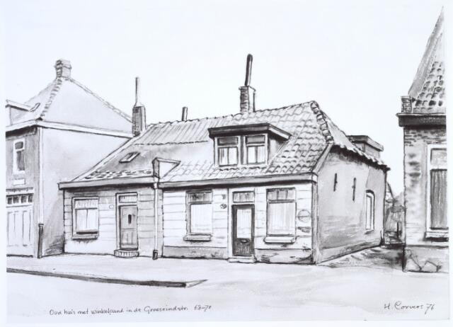 019863 - Tekening. Tekening van H. Corvers van een huis met winkelpand in de Groeseindstraat
