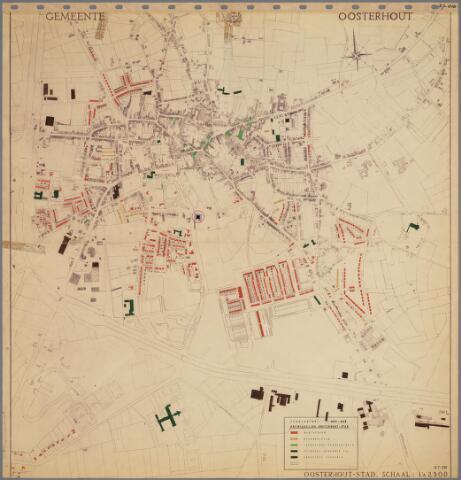 104900 - Kadasterkaart. Bestemmingsplan Oosterhout. Schaal 1 : 2.500. Ontwikkeling van de stad; verklaring jaren 1945 - 1958